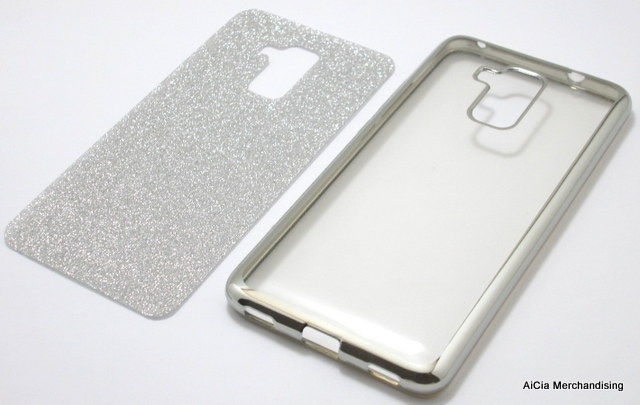 buy popular 60868 54148 Huawei Honor 5C or Honor 7 Lite Glittery Clear Softjacket Case – Silver