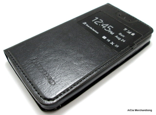 Lenovo A319 or RocStar Leather Case with Front Preview – Black